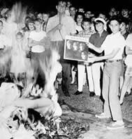 Teenagers burn Beatles Albums